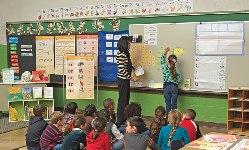 Teacher and students in a Fundations classroom