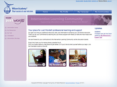 Intervention learning community web page