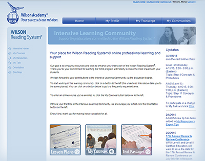 Intensive Learning Community web page