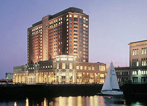 Boston Seaport Hotel & World Trade Center at night