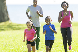 Healthy active African American family