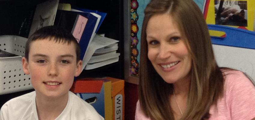 Megan Saffell, a teacher at Warren Hills Elementary School in Liberty, MO, with her WRS practicum student, Seth.