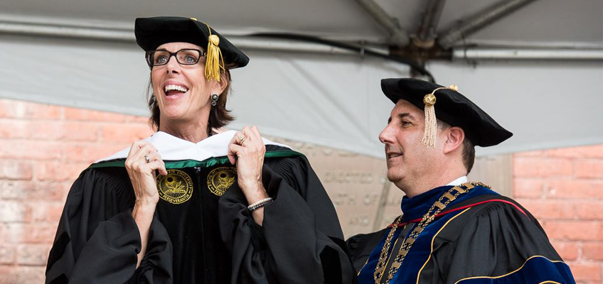 Barbara Wilson receiving an honorary doctorate of humane letters.