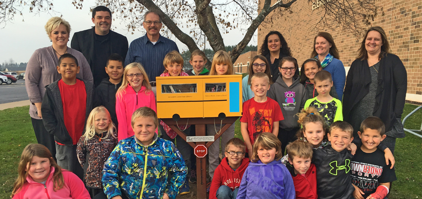 WRS students in Taylor County, Wisconsin, brought a Little Free Library to their elementary school.