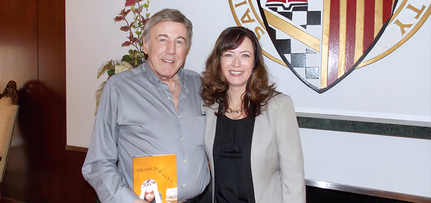 Author Alby Lee Lewis with daughter Dr. Jaclyn Murawska during a book signing and dyslexia presentation at Saint Xavier University in Chicago.