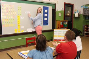WRS teacher instructing students with Word Element & Syllable Cards on whiteboard