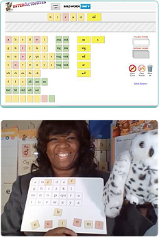screen shot of Fundations interactivities and teacher holding letter board and echo puppet