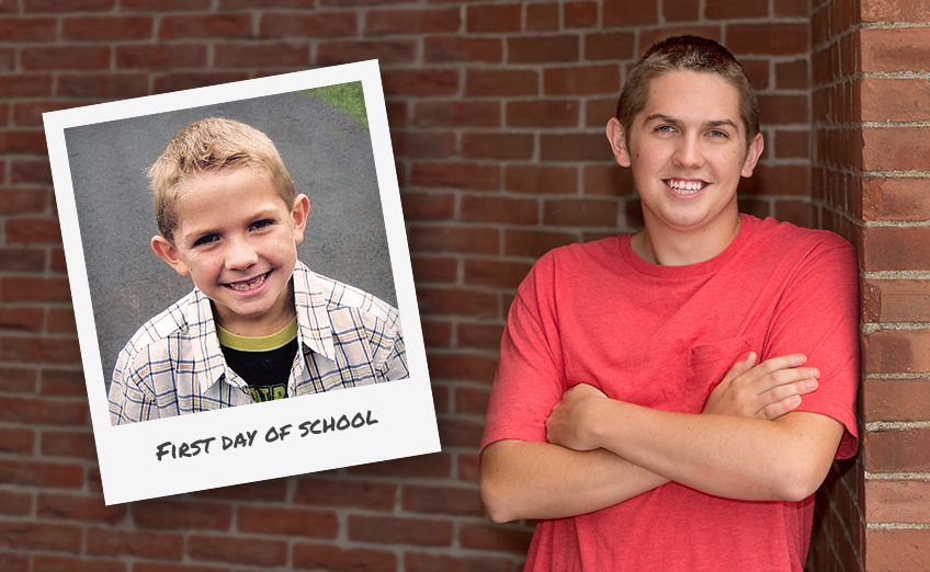 Photo of a student on first day of school next to a photo of same student in high school