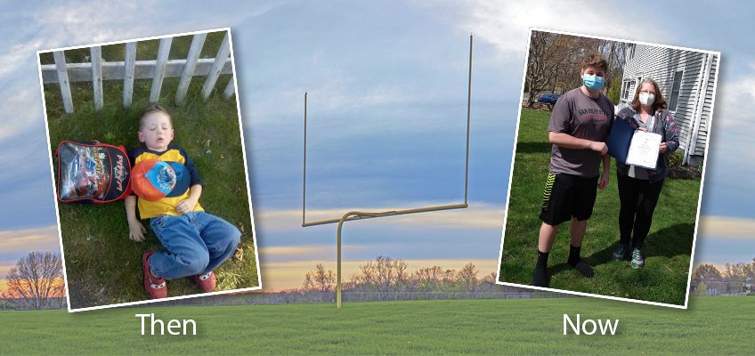 Football goal background young Liam sleeping on the grass high school Liam standing with his teacher smiling